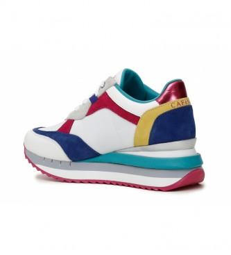 CAFÉ NOIR Sneakers in pelle multimateriale multimateriale, bianche -Altezza zeppa: 5 cm-