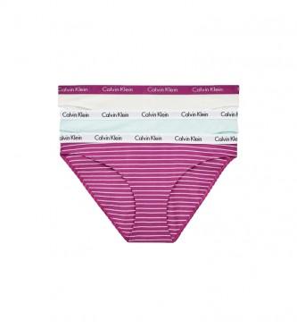Calvin Klein Confezione da 3 slip classici Carousel 000QD3588E turchese, lilla, bianco