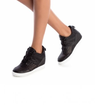 Carmela Zapatillas de piel 067369 negro -Altura cuña: 6cm-