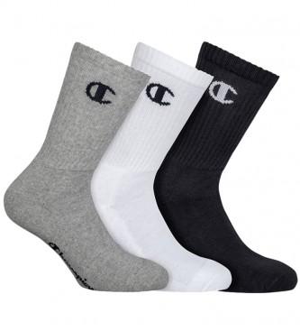 Champion Lot de 3 paires de chaussettes hautes Une couleur : gris, noir, blanc