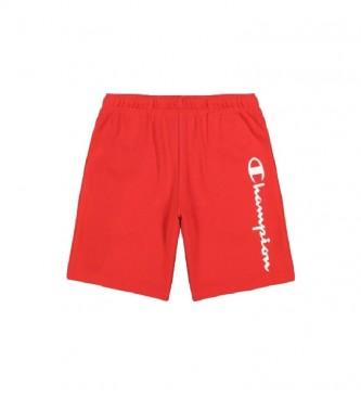 Champion Shorts rossi in spugna di cotone con logo con scritta verticale