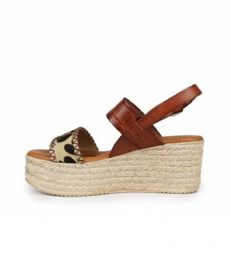 Chika10 Sandálias de couro castanho Floid 03 -Cunha de altura: 7cm
