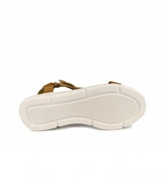 Chika10 Rose 01 sandálias de couro de mostarda