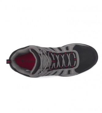 Columbia Redmond V2 gris, bottes demi-rondes en cuir noir imperméable