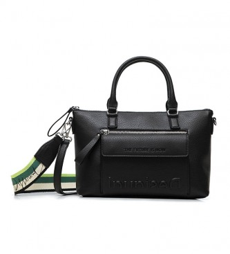 Desigual Bolso de Hombro Bolsillo Half Logo negro -29.4x12x22cm-