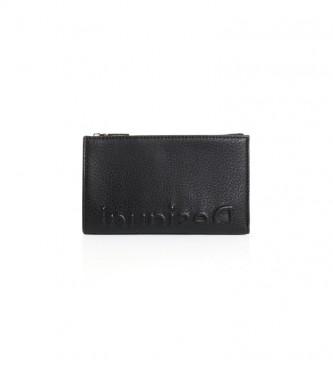 Desigual Porte-monnaie noir embossé Half Emma -16x9.9x2cm