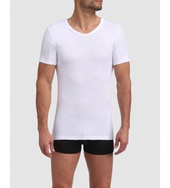 DIM Pacote de 2 Camisetas de Algodão Pescoço em V Branco
