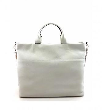 Dimoni White leather handbag -36 x 29 x 15 cm