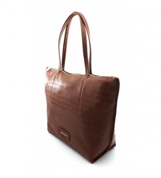 Dimoni Brown leather bag -40 x 29 x 13 cm-.