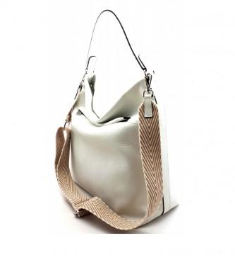 Dimoni White leather bag -31 x 23 x 15 cm-.