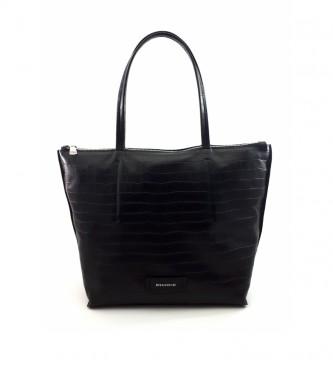 Dimoni Black leather bag -40 x 29 x 13 cm-.