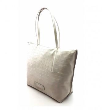 Dimoni White leather bag -40 x 29 x 13 cm-.