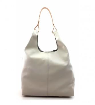 Dimoni White leather bag -34 x 31 x 12 cm-.