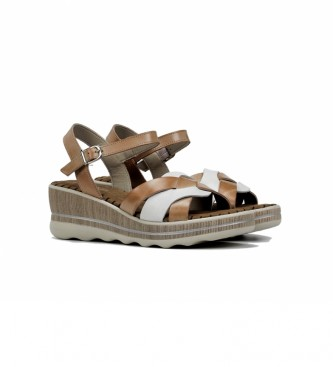 Dorking Brown leather sandals D8473, white