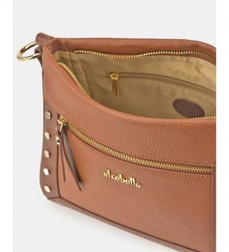 El Caballo Floather cognac leather shoulder bag -18x24x10cm