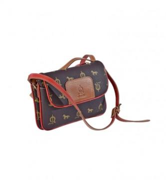 El Caballo Brown canvas leather shoulder bag -21x15x6cm