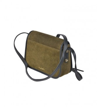 El Caballo Green split leather shoulder bag -16x22x7cm