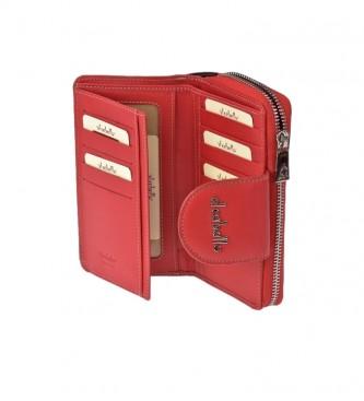 El Caballo Grand porte-monnaie en cuir rouge Anicalf -16x9x3cm