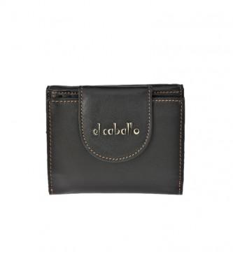 El Caballo Petit portefeuille en cuir Anicalf noir -10x10x2,5cm