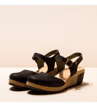 EL NATURALISTA Sapatos de couro N5001 Deixa preto -Altura da cunha: 5,5cm
