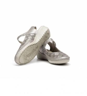 Fluchos Scarpa in pelle F0760 argento -Altezza zeppa: 4 cm-