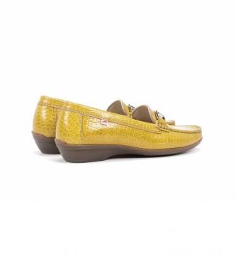 Fluchos Mocassins de couro F0807 Yango amarelo