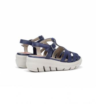 Fluchos Sandalias de piel Lima F0840 azul -Altura cuña + plataforma: 5,5 cm-