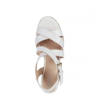 GEOX Sandali in pelle Ponza bianca -Altezza zeppa: 8,5 cm-