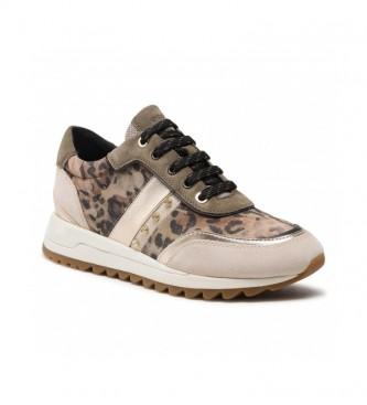 GEOX Tabelya animal print leather sneakers, beige, green