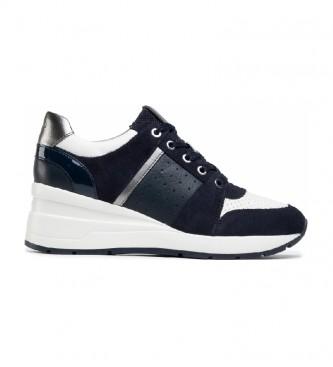 GEOX Sneakers Zosma in pelle blu navy -Altezza zeppa: 6 cm-