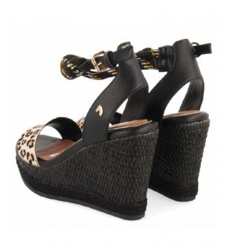 Gioseppo Sandalias de piel Basin negro, leopardo