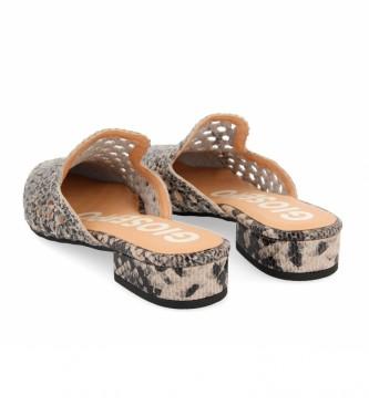 Gioseppo Pantofole in pelle intrecciata Cayuta con stampa serpente beige, nero