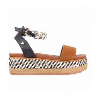 Gioseppo Sandals Kaycee brown, navy -Platform height: 5.5 cm