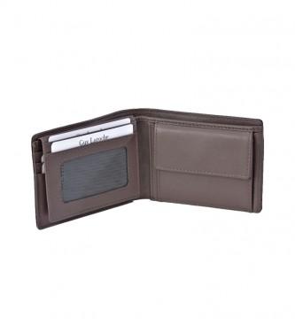 Guy Laroche American Braided Leather GL-3715 com bolsa preta para moedas -11x8x1cm