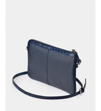 Guy Laroche Leather crossbody bag GL-12447 flat blue -29x18x2cm