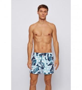 Hugo Boss Costume da bagno ad asciugatura rapida con stampa di foglie di palma marine
