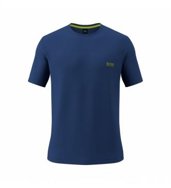 Hugo Boss T-shirt lunga in cotone elasticizzato blu