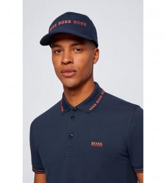 Hugo Boss Slim Fit Polo shirt with Logo on collar navy Paule