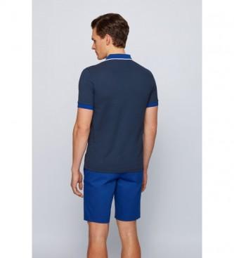 Hugo Boss Polo slim fit in piqué di cotone Oxford blu scuro