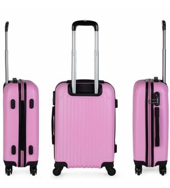ITACA Maleta de Viaje Cabina Rígida 4 Ruedas T71550 rosa -55x38x20cm-