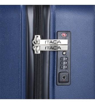 ITACA Valigia da Viaggio Rigida Grande con 4 ruote 760370 navy -55x77,5x33cm-