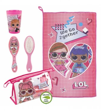 Cerdá Group Saco de toucador com conjunto de toucador LOL rosa -23x15x8cm