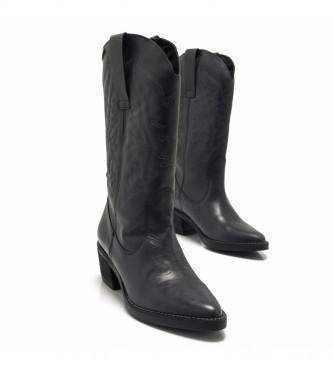 Mustang Botas de piel Ares negro -Altura tacón: 5 cm-