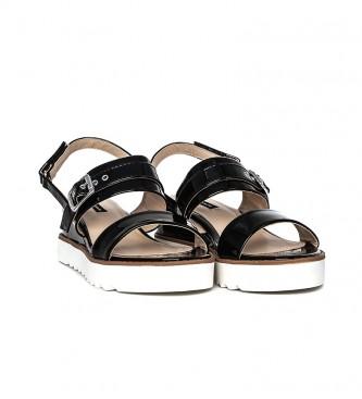 Mustang Black Panet Sandals - Wedge height: 6cm