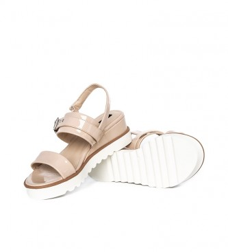 Mustang Sandals Panet nude - Wedge height: 6cm
