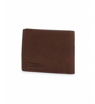 National Geographic Portefeuille en cuir brun feu -2x10,5x8cm