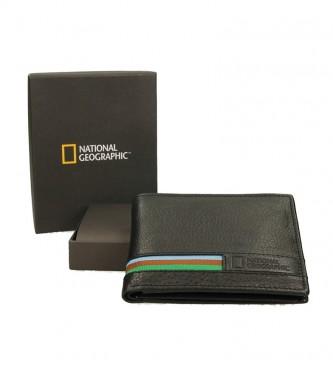 National Geographic Portafoglio in pelle nera London-1,5x11x9cm-