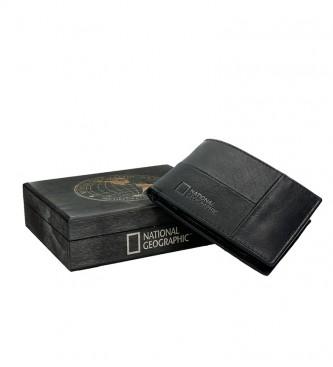 National Geographic Landscape leather wallet black -2x10.5x8 cm-