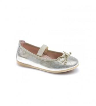 Pablosky Leyre platinum leather ballet pumps