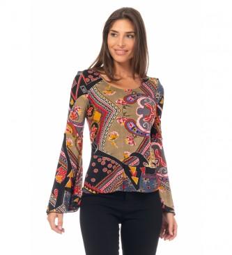 Peace and Love T-Shirt con stampa a maglia multicolore